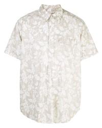 Camisa de manga corta con print de flores en beige de Engineered Garments