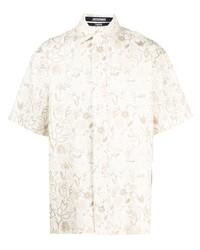 Camisa de manga corta con print de flores en beige de Jacquemus