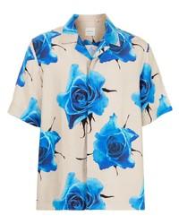 Camisa de manga corta con print de flores en beige de Paul Smith