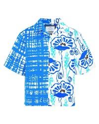Camisa de manga corta con print de flores en blanco y azul de Prada