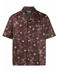 Camisa de manga corta con print de flores en marrón oscuro de Jacquemus
