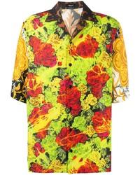 Camisa de manga corta con print de flores en multicolor de Versace