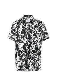 Camisa de manga corta con print de flores en negro y blanco