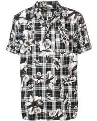 Camisa de manga corta con print de flores en negro y blanco de Neil Barrett