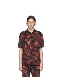 Camisa de manga corta con print de flores en rojo y negro de Paul Smith