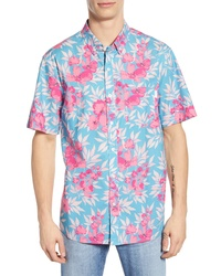 Camisa de manga corta con print de flores en turquesa