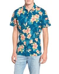 Camisa de manga corta con print de flores en verde azulado