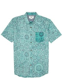 Camisa de manga corta con print de flores en verde menta