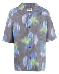 Camisa de manga corta con print de flores gris de Kenzo