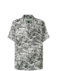 Camisa de manga corta con print de flores gris de Off-White