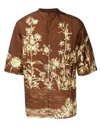Camisa de manga corta con print de flores marrón de Salvatore Ferragamo