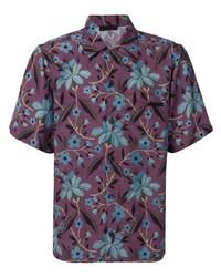 Camisa de manga corta con print de flores morado oscuro de Prada