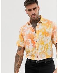 Camisa de manga corta con print de flores naranja de ASOS DESIGN