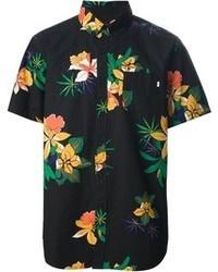 Camisa de manga corta con print de flores negra