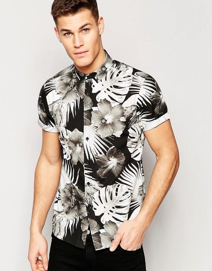 77efd03f43b39 ... Camisa de manga corta con print de flores negra de Asos ...