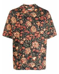 Camisa de manga corta con print de flores negra de Kenzo