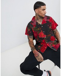 Camisa de manga corta con print de flores negra de Profound Aesthetic