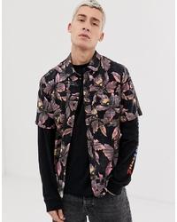Camisa de manga corta con print de flores negra de Volcom