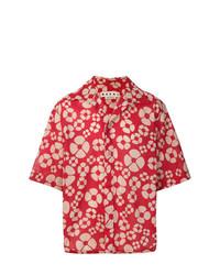 Camisa de manga corta con print de flores roja de Marni