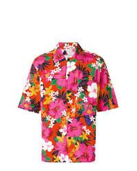 Camisa de manga corta con print de flores rosa