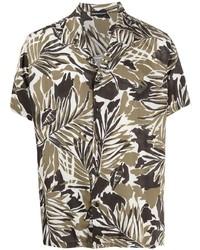 Camisa de manga corta con print de flores verde oliva de Emporio Armani
