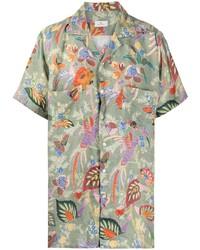 Camisa de manga corta con print de flores verde oliva de Etro