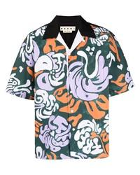 Camisa de manga corta con print de flores verde oscuro de Marni