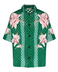 Camisa de manga corta con print de flores verde oscuro de Valentino