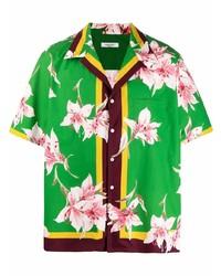 Camisa de manga corta con print de flores verde de Valentino