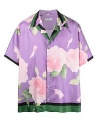 Camisa de manga corta con print de flores violeta claro de Valentino