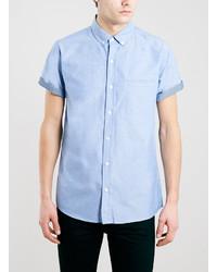 Camisa de manga corta de cambray celeste