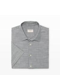 Camisa de manga corta de cambray gris