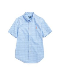 Camisa de manga corta de cuadro vichy celeste