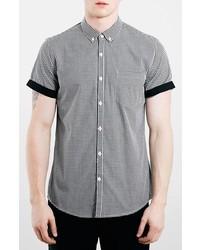 Camisa de manga corta de cuadro vichy en negro y blanco