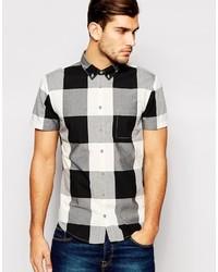 Camisa de manga corta de cuadro vichy en negro y blanco de Boss Orange