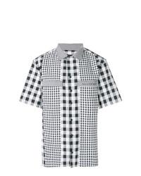 Camisa de manga corta de cuadro vichy en negro y blanco de David Catalan