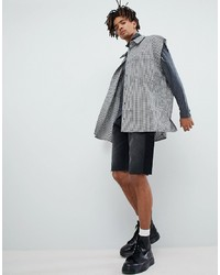 Camisa de manga corta de cuadro vichy en negro y blanco de Mennace