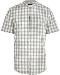 Camisa de manga corta de cuadro vichy gris