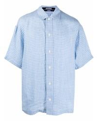 Camisa de manga corta de lino a cuadros celeste de Jacquemus