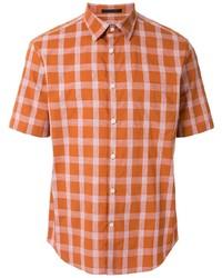 Camisa de manga corta de lino a cuadros naranja de D'urban
