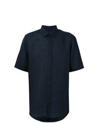 Camisa de manga corta de lino azul marino de BOSS HUGO BOSS