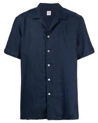 Camisa de manga corta de lino azul marino de Eleventy