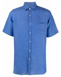 Camisa de manga corta de lino azul de Canali
