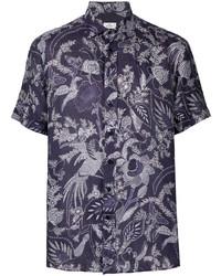 Camisa de manga corta de lino con print de flores azul marino de Etro