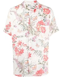 Camisa de manga corta de lino con print de flores blanca de Etro