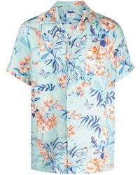 Camisa de manga corta de lino con print de flores celeste de Etro