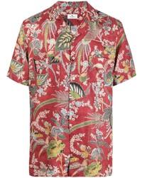 Camisa de manga corta de lino con print de flores roja de Etro