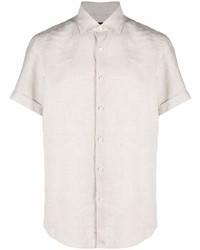 Camisa de manga corta de lino en beige de Ermenegildo Zegna