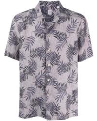 Camisa de manga corta de lino estampada gris de Eleventy