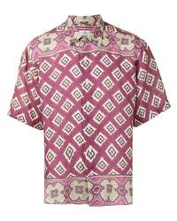 Camisa de manga corta de lino estampada morado de Etro